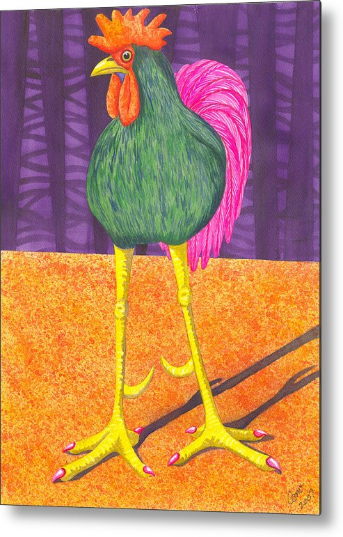 Rooster Metal Print featuring the painting Chicken Legs by Catherine G McElroy