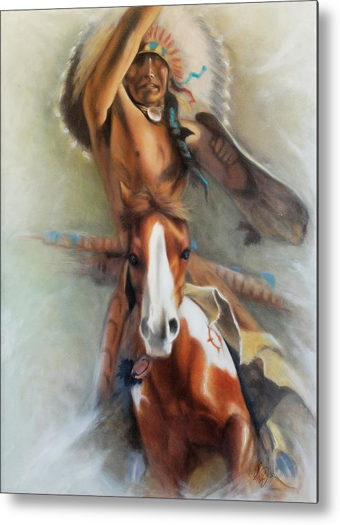 Native American Metal Print featuring the painting Chief Hole In The Day by Elizabeth Silk