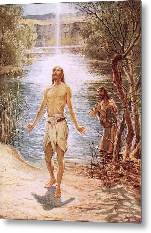 Christ Baptised By John The Baptist By William Brassey Hole (1846-1917)lake Metal Print featuring the painting Christ Baptised By John The Baptist by William Brassey Hole