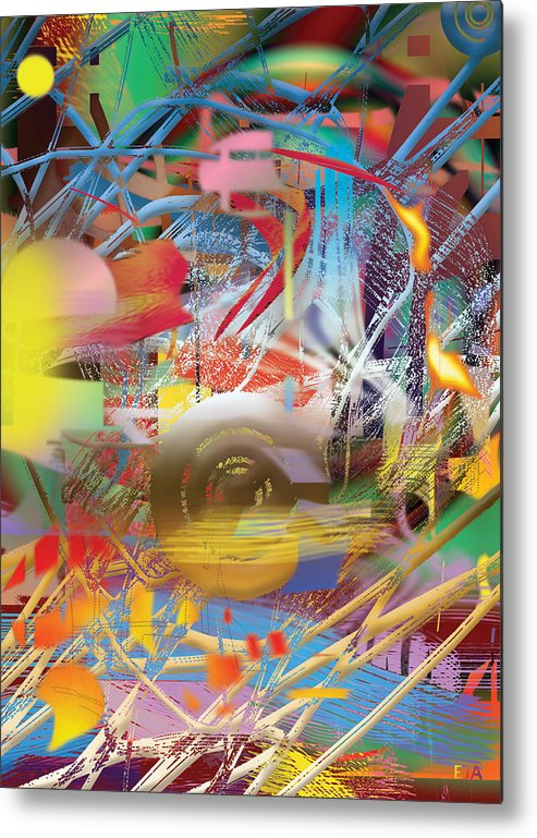 Colors Abstract Contemporary Mixed Media Modern Shapes Ideal Deco Contrasted Image Artist Paintings Various Hotel Living Room Design Interior Painting. Metal Print featuring the digital art Chronicoss by Eric J Amsellem
