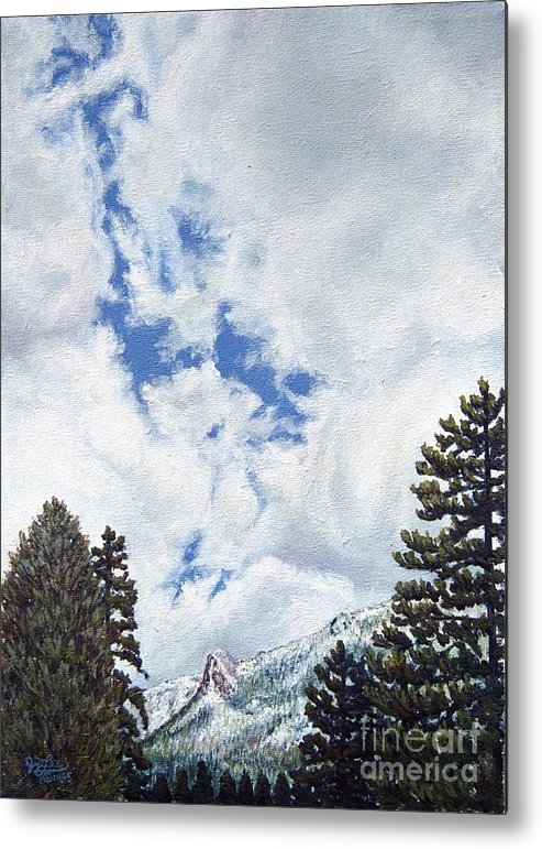 Landscape Painting Metal Print featuring the painting Clouds Over Tahquitz by Jiji Lee