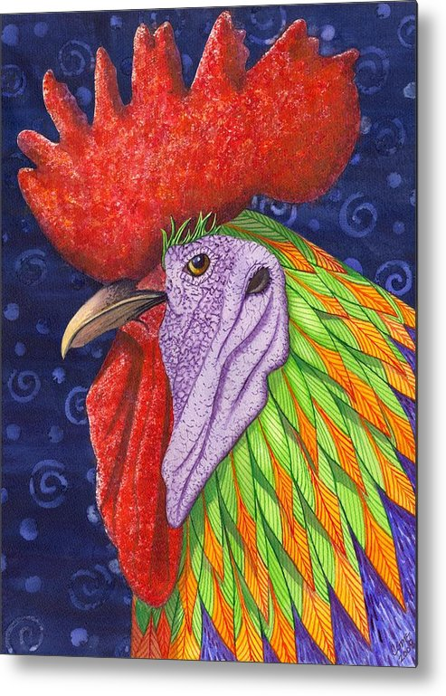 Rooster Metal Print featuring the painting Cock A Doodle Dude IIi by Catherine G McElroy