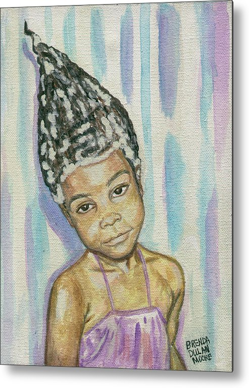 Playful. Pyramid Metal Print featuring the painting Conehead by Brenda Dulan Moore