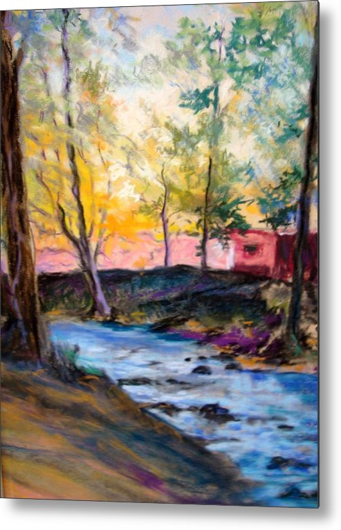 Landscape Metal Print featuring the painting Crystal Clear Creek by Anne Dentler