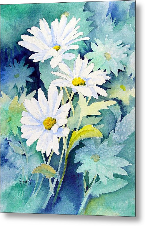 Flowers Metal Print featuring the painting Daisies by Sam Sidders
