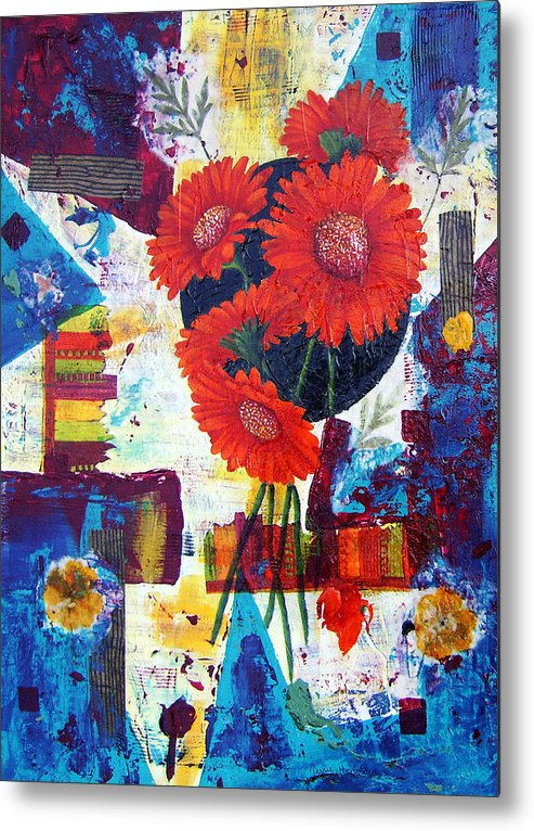 Daisy Flower Red Abstract Modern Collage Mixed Media Acrylic  Metal Print featuring the painting Dance Of The Daisies by Terry Honstead