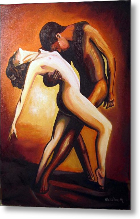 Nude Metal Print featuring the painting Dancing by Jose Manuel Abraham