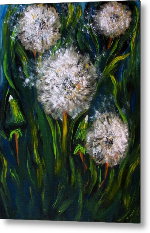 Flower Art Metal Print featuring the painting Dandelions Acrylic Painting by Natalja Picugina