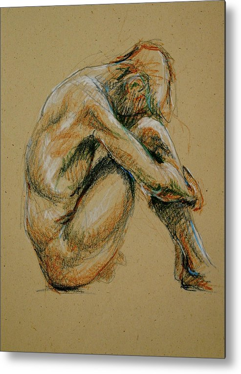 Male Metal Print featuring the drawing Deep Thought by Chris Riley