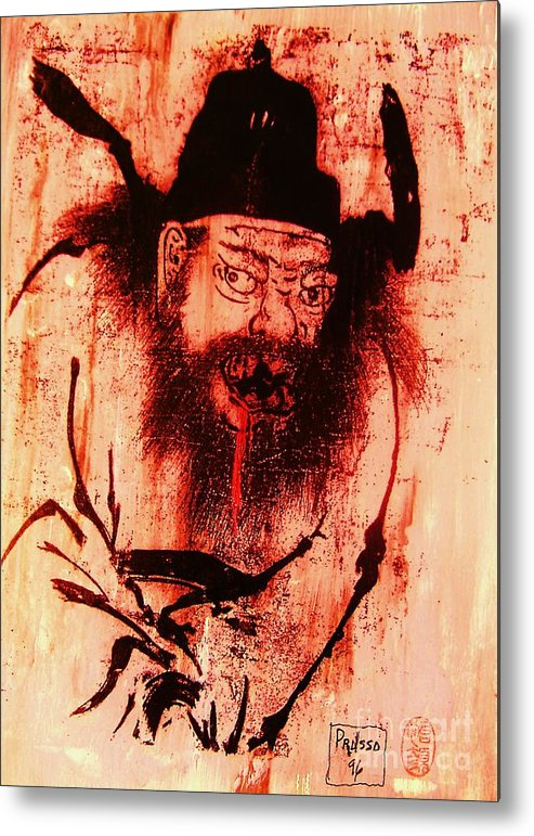 Figurative Metal Print featuring the painting Demon Queller by Roberto Prusso