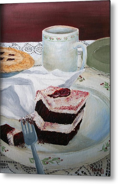 Coffee Metal Print featuring the relief Dessert by Melissa Wiater Chaney