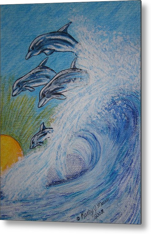 Dolphins Metal Print featuring the painting Dolphins Jumping In The Waves by Kathy Marrs Chandler