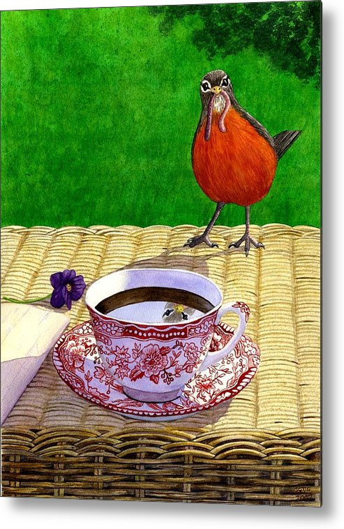 Robin Metal Print featuring the painting Early Bird by Catherine G McElroy