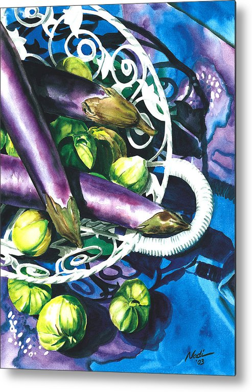 Food Metal Print featuring the painting Eggplants by Nadi Spencer