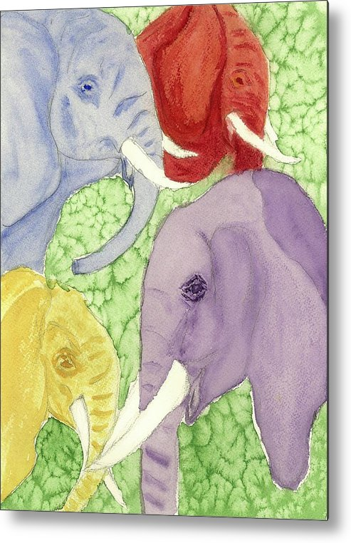 Animals Metal Print featuring the painting Elephants In The Room by Joan Zepf