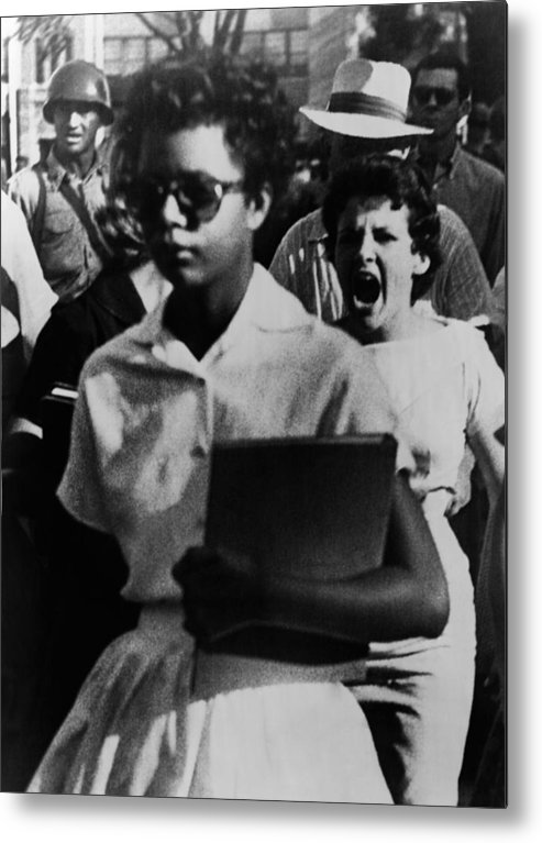 History Metal Print featuring the photograph Elizabeth Eckford, One Of The Nine by Everett