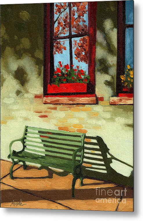 City Bench Metal Print featuring the painting Empty Bench by Linda Apple