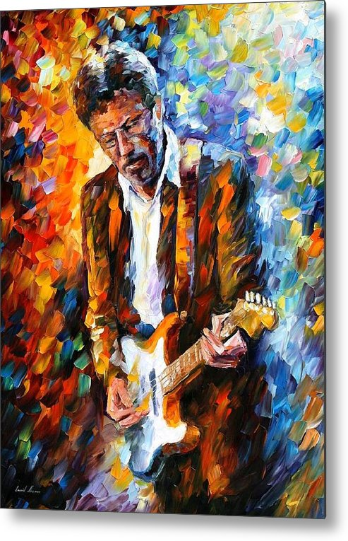 People Metal Print featuring the painting Eric Clapton by Leonid Afremov