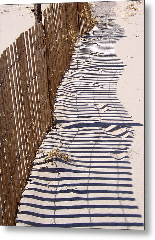 Metal Print featuring the photograph Fence Shadow by Iris Posner