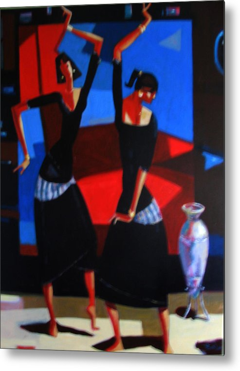 Figure Metal Print featuring the painting Finger Dance by Ihab Bishai