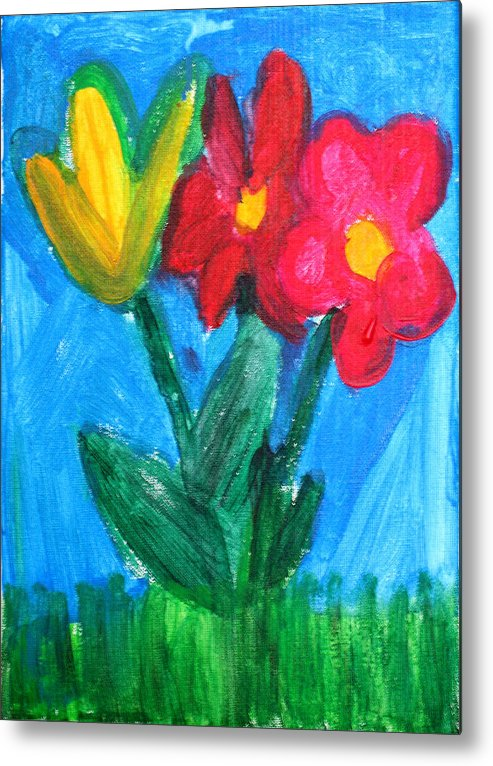 Flowers Metal Print featuring the painting Flowers by Ann Lyons