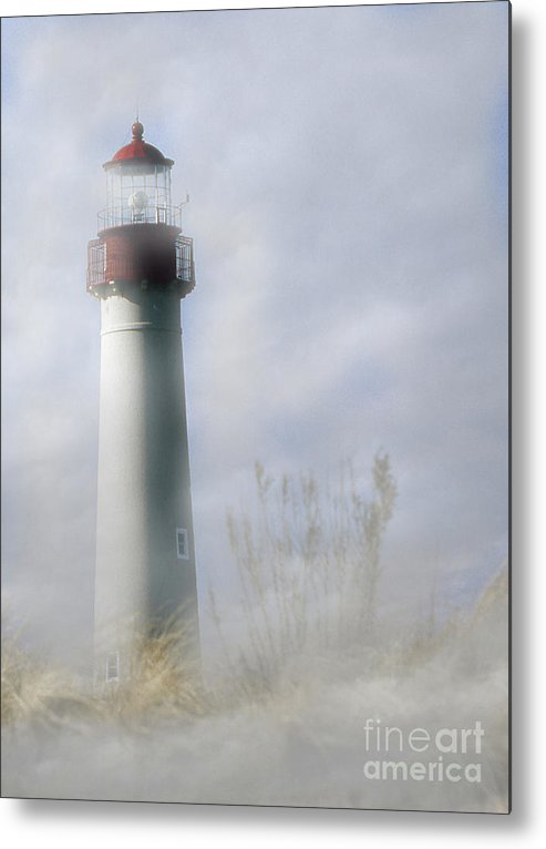 Lighthouses Metal Print featuring the photograph Fog On Cape May by Skip Willits