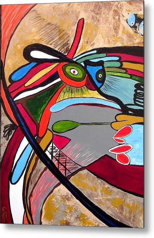 Abstract Frog Metal Print featuring the painting Frog by Ofelia Uz