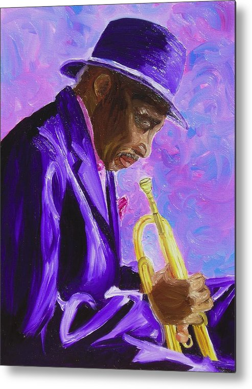 Street Musician Trumpet Player Metal Print featuring the painting From The Soul by Michael Lee