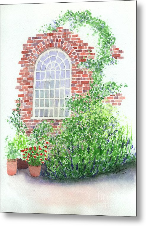 Window Metal Print featuring the painting Garden Wall by Lynn Quinn