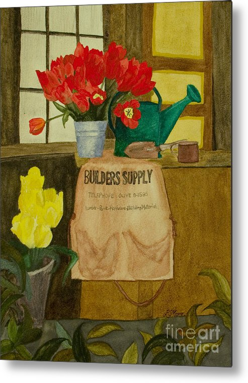 Tulips Metal Print featuring the painting Gardner by Louise Magno