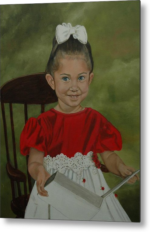Girl Metal Print featuring the painting Girl Reading Book by Tresa Crain