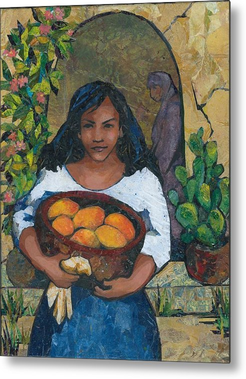 Girl Metal Print featuring the painting Girl With Mangoes by Barbara Nye