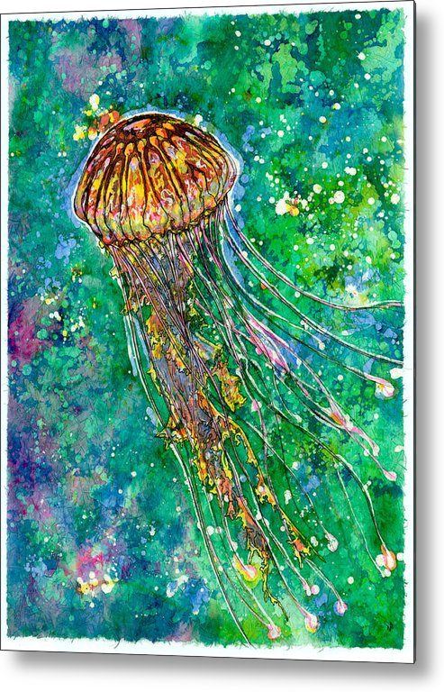 Jellyfish Metal Print featuring the painting Go With The Flow by Nick Cantrell