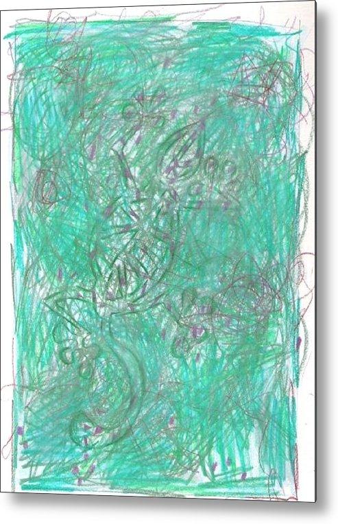 Abstract Metal Print featuring the drawing Goanna , Goanna by Wayne Monninger