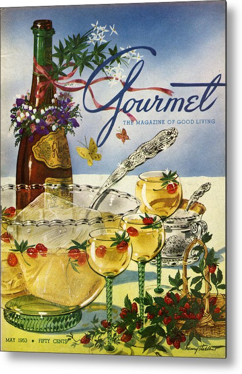 Illustration Metal Print featuring the photograph Gourmet Cover Featuring A Bowl And Glasses by Henry Stahlhut