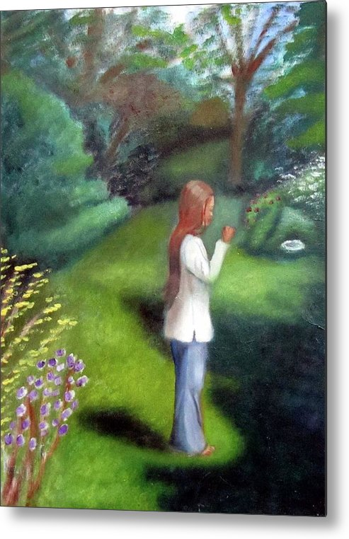 Portrait Metal Print featuring the painting Grandmas Garden by Alima Newton