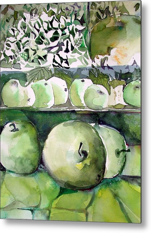 Apple Metal Print featuring the painting Granny Smith Apples by Mindy Newman