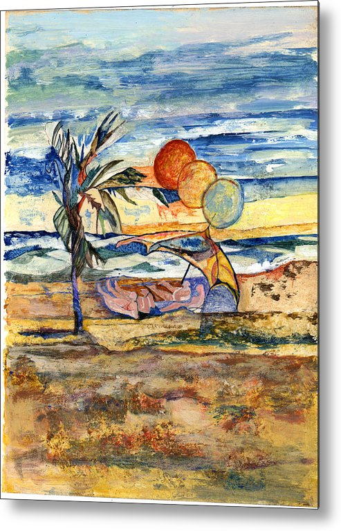 Seascape Metal Print featuring the painting Group At The Beach by Lily Hymen