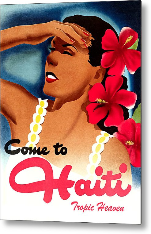 Haiti Metal Print featuring the painting Haiti, Woman With Exotic Flowers by Long Shot