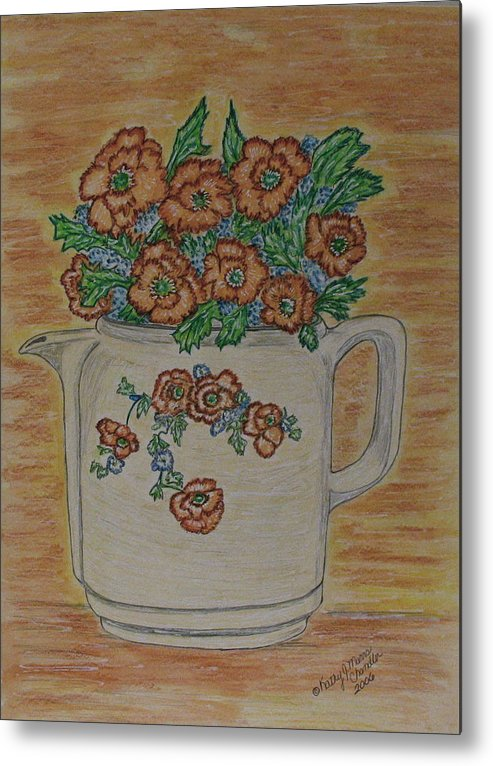 Hall China Metal Print featuring the painting Hall China Orange Poppy And Poppies by Kathy Marrs Chandler