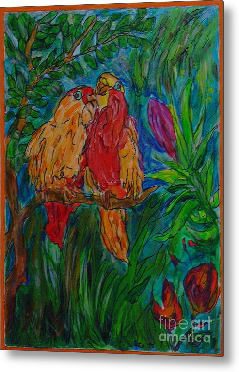 Birds Tropical Couple Pair Illustration Original Leilaatkinson Metal Print featuring the painting Happy Pair by Leila Atkinson