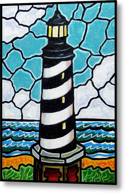 Lighthouse Metal Print featuring the painting Hatteras Island Lighthouse by Jim Harris