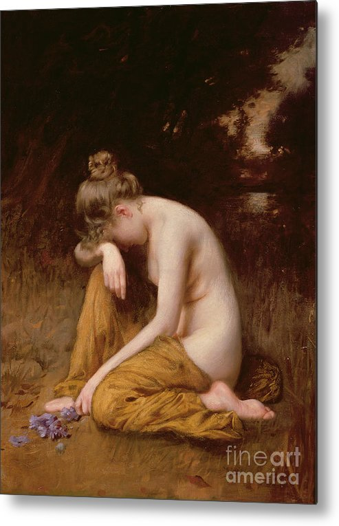 Nude Metal Print featuring the painting He Loves Me He Loves Me Not by Robert Fowler