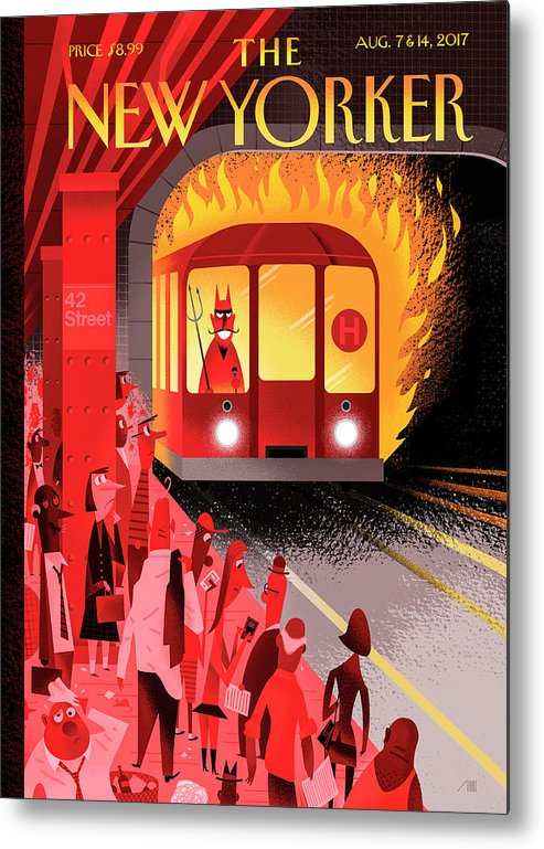 Hell Train Metal Print featuring the drawing Hell Train by Bob Staake