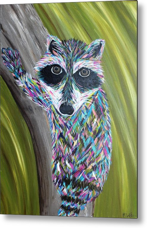 Raccoon Metal Print featuring the painting Henery by Misty Lee