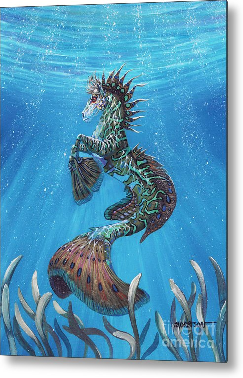 Seahorse Metal Print featuring the painting Hippocampus by Stanley Morrison