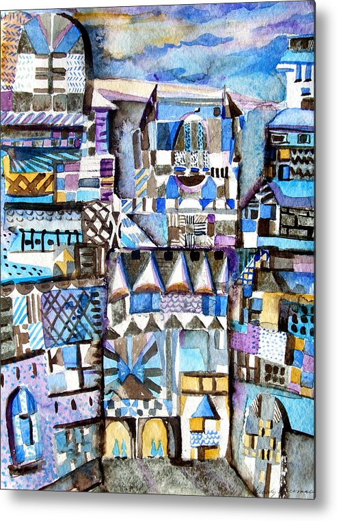 City Metal Print featuring the painting Homage To Paul Klee by Mindy Newman