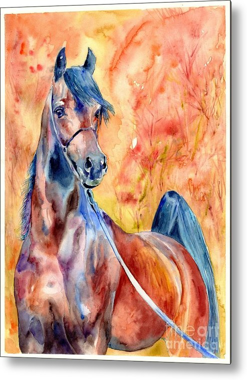 Horse Metal Print featuring the painting Horse On The Orange Background by Suzann Sines