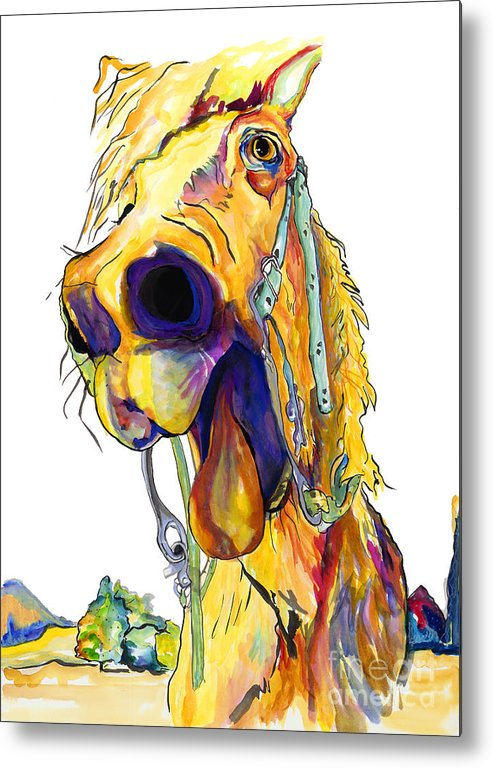 Animal Painting Metal Print featuring the painting Horsing Around by Pat Saunders-White