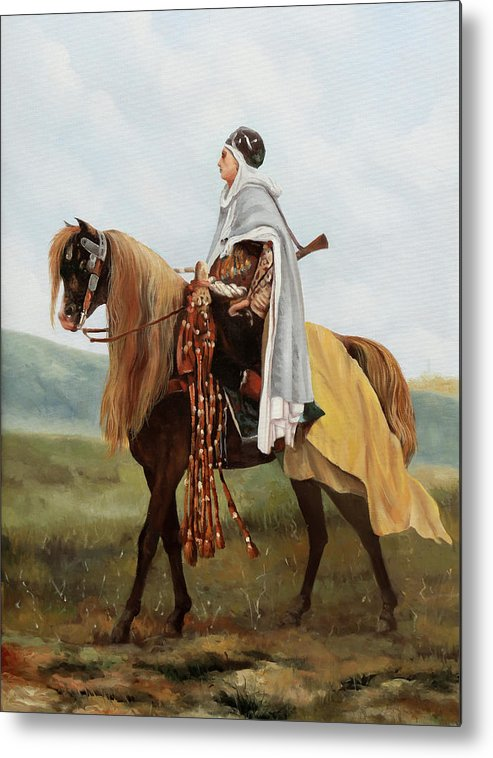 Yellow Knight Metal Print featuring the painting Il Cavaliere Giallo by Guido Borelli